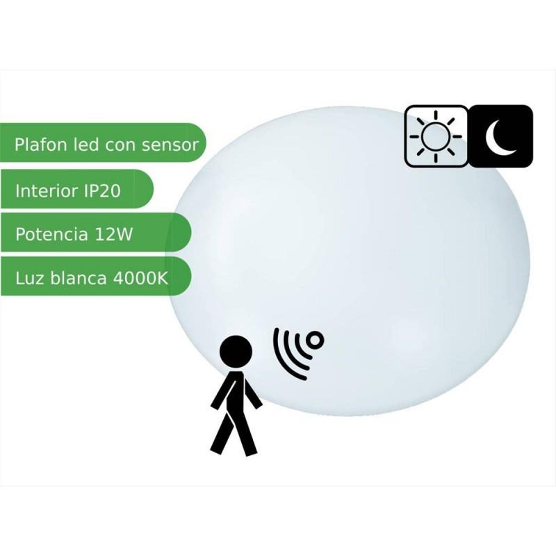 Plafón LED 12 W con detector de movimiento microondas